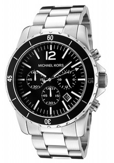 michael kors mk8140 silver steel black dial mens chronograph watch
