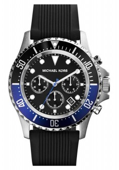 michael kors mk8365 everest black rubber silver chronograph mens watch